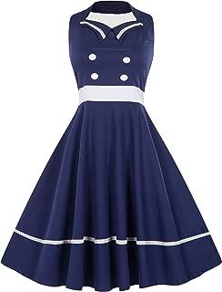 Wellwits Women's Vintage 1950s Halter Neck Cocktail Sailor Dress