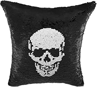 P PROMSTAR Halloween Pillow Covers Decoration White Black Reversible Sequins Pillow Covers Skull Pillowcases Throw Cushion 16x16 Inch