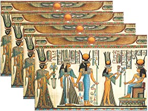WOZO Retro Papyrus Egyptian Placemat Table Mat, Vintage Ancient 12 x 18 Polyester Table Place Mat for Kitchen Dining Room Set of 4