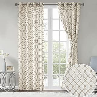 Comfort Spaces Bridget Faux Linen Fretwork Window Curtain Embroidery Design Grommet Top Panel Pair with Tie Backs, 50