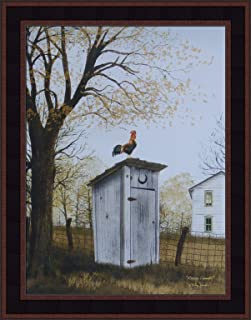 Home Cabin Décor Morning Commute by Billy Jacobs 15x19 Outhouse Bathroom Rooster Country House Primitive Folk Art Print Framed Picture