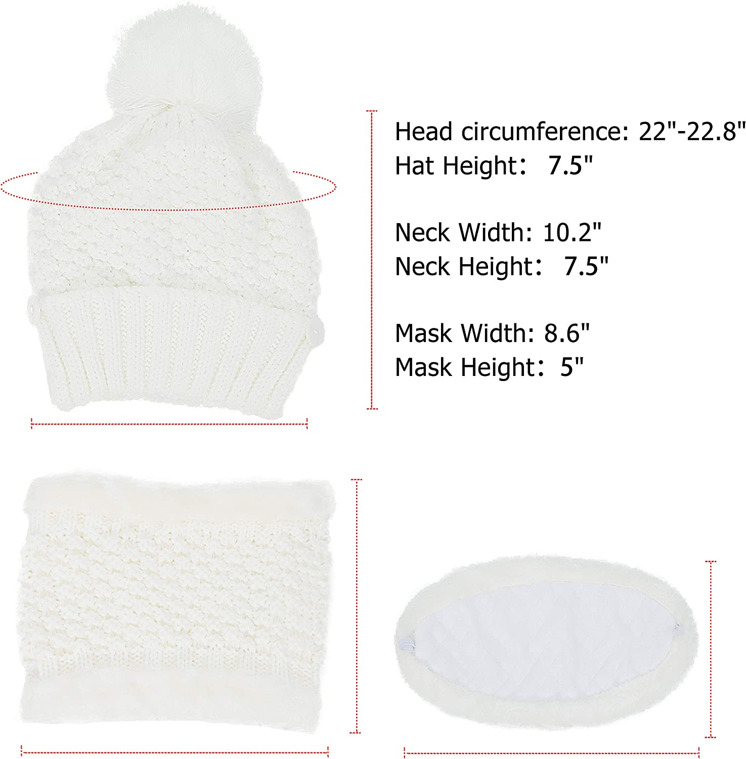 Winter Beanie Hat Scarf and Mask Set for Women, Thick Warm Slouchy Knit Fleece Lined Skull Knit Cap Scarf Mouth Mask 3 Pieces