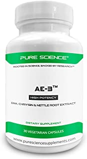 Pure Science AE-3 Chrysin with DIM & Stinging Nettle Root Extract – Natural Aromatase Inhibitor & Estrogen Blocker for Men – 30 Capsules
