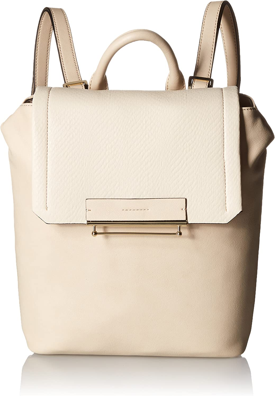 Danielle Nicole Womens Jett Faux Leather colorblock Backpack Beige Medium