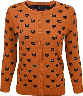 Women's Cute Cat Dog Pattern 3/4 Sleeve Button Down Cardigan Sweater
