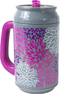 Cool Gear Can with Handle, 33 oz, Pink Petals Gray