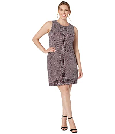 MICHAEL Michael Kors Plus Size Tile Dot Sleeveless Border Dress (Bone/Garnet) Women