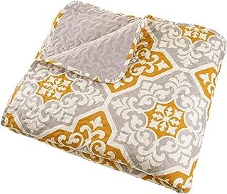 Full/Queen Quilt Bed Set, 3 Piece Reversible Microfiber Quilt Bedding Set With Shams –Vivian Embossed Quilt Bedroom Set by Lavish Home (Grey)