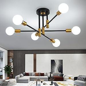 Mid Century Modern Sputnik Chandelier Light Fixture, Semi Flush Mount Ceiling Light Adjustable Arm Pendant Lighting Used for Kitchen Dining Room Bedroom Living Room Corridor (Black+Gold-6 Lights)