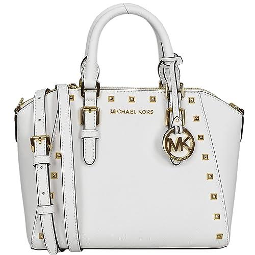 4f9a85e3c9fce4 Michael Kors Studded Medium Ciara Saffiano Leather Womens Messenger Bag