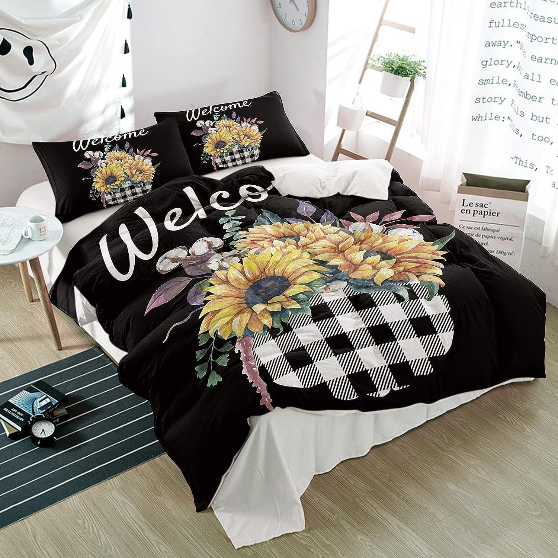 3PiecesBeddingDuvetCoverSetYellow Sunflo online shop List price