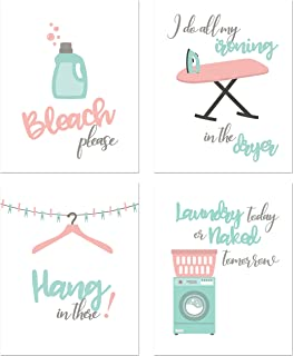Best Laundry Room Prints - Set of 4 (8 inches x 10 inches) Funny Wall Decor Photos Review