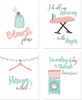 Laundry Room Prints - Set of 4 (8 inches x 10 inches) Funny Wall Decor Photos