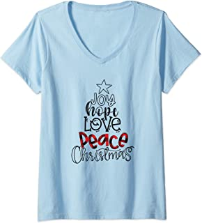 Womens Joy Peace Love Hope Christmas Matching Family Pajama Gift V-Neck T-Shirt