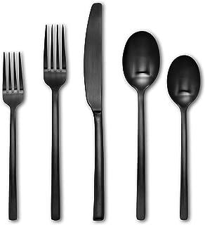 Cambridge Silversmiths 20 Piece Beacon Flatware Silverware Set, Black Satin, Service for 4, Includes Forks/Spoons/Knives