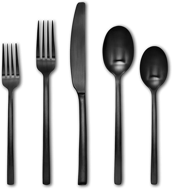 Cambridge Silversmiths 20 Piece Beacon Flatware Silverware Set Black Satin Service For 4 Includes Forks Spoons Knives