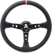 Tanaka 350mm Deep Dish 6 Bolt PU Carbon Fiber Steering Wheel Red Line (Black with Red Line)