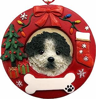 E&S Pets Black and White Shih Tzu Puppy Cut Personalized Christmas Ornament