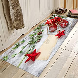 Snow Red Christmas Shoes Print Memory Foam Comfort mat Non Slip Super Soft Coral Fleece rug Doormats Carpet for Kitchen Dining and Living Room 71 X 24 inches