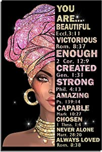 Black Women Poster African American Wall Art Christian Wall Decor Queen Inspirational Picture African American Black Girl Wall Art Painting Wall Decor Prints Living Room Bedroom 12x16 inch No Frame