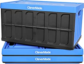 CleverMade 46L Collapsible Storage Bins with Lids - Folding Plastic Stackable Utility Crates, Solid Wall CleverCrates, 3 P...