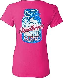 Southern Charm Mason Jar Southern State of Mind Short Sleeve Pink T Shirt