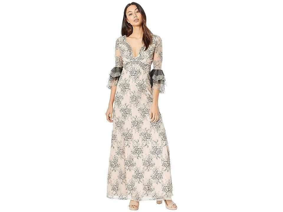 BCBGMAXAZRIA V Front Long Dress with Ruffle Sleeve (Rose Whisper Combo) Women