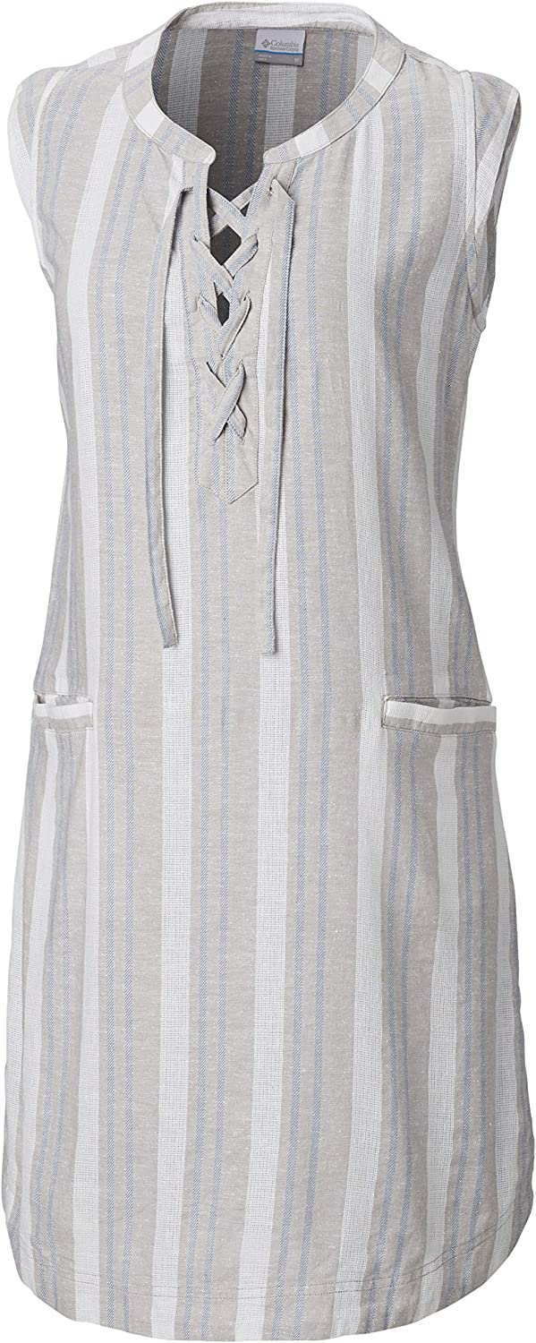 Columbia Woherren Summer Time Dress, Flint grau Grünical Stripe, Large