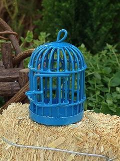 Miniature Dollhouse Fairy Garden Accessories ~ Blue Metal Bird Cage ~ New
