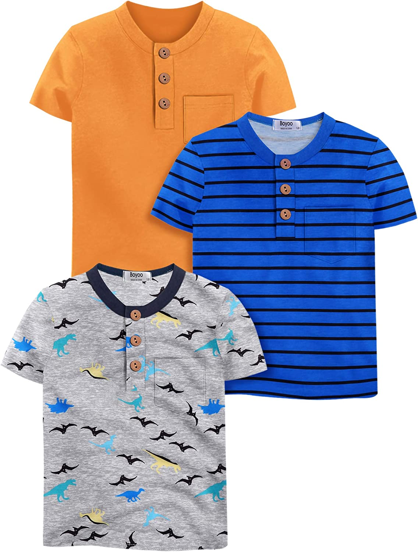 Boyoo Boys' 2~3 Pack Short Sleeve Henley Shirt Graphic Crewneck Cotton T Shirt