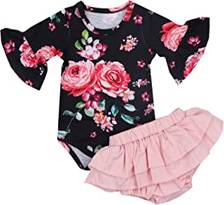 49b970c337d72 Newborn Baby Girls Clothes Floral Sleeve Romper+ Floral Short Pant 2pcs  Summer Outfit