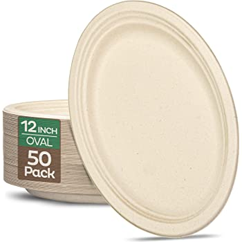 """100% Compostable Oval Paper Plates [12.5 inch - 50-Pack] Elegant Disposable Dinner Platter Heavy-Duty Quality, Natural Bagasse Unbleached Eco-Friendly Made of Sugar Cane Fibers, [12.5"""" x 10"""" Platter]"""