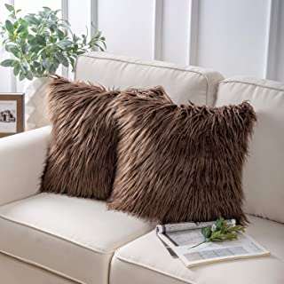 Phantoscope Pack of 2 Luxury Series Throw Pillow Covers Faux Fur Mongolian Style Plush Cushion Case for Couch Bed and Chair,Coffee 18 x 18 inches 45 x 45 cm