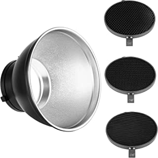Neewer 7inch/18cm Standard Reflector Diffuser with 20/40/60 Degree Honeycomb Grid for Bowens Mount Studio Light Strobe Flash