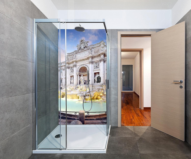 Wandmotiv24 Duschrückwand Trevi-Brunnen, Rom 100 x 200cm (B x H) - Aluminium 3mm Duschwand Design, Keine Fugen M1024