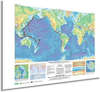 HISTORIX 2006 World Map of Volcanoes Earthquakes Impact Craters & Plate Tectonics - 24x36 Inch This Dynamic Planet World G...