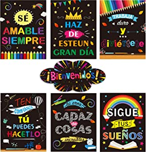 7 Pieces Bienvenidos Sign Spanish Posters Spanish Inspirational Posters Spanish Motivational Banner with Adhesive Dots for Toddler Kids Students Spanish Classroom Decorations
