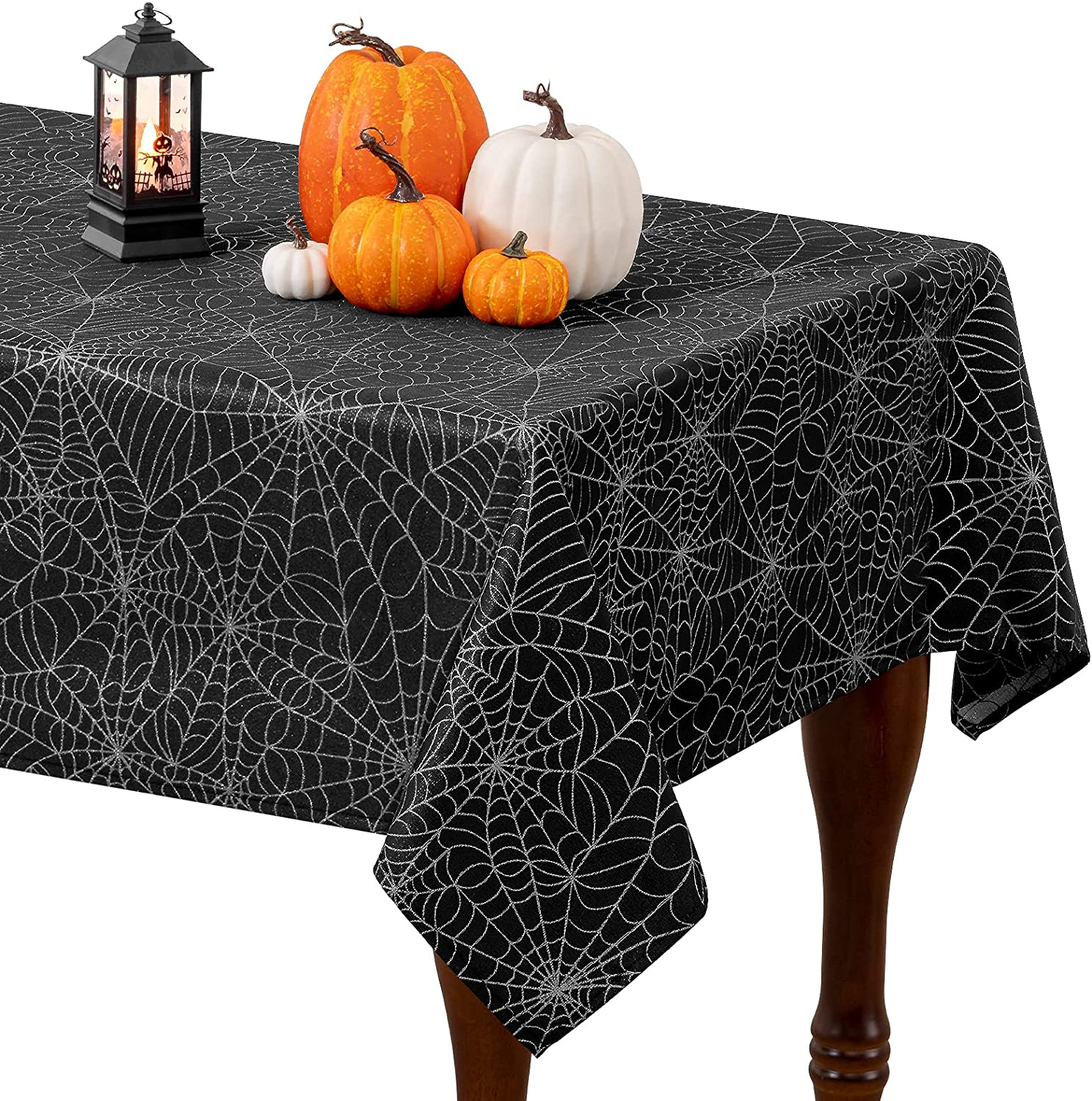 Halloween Tablecloth Free shipping anywhere in the nation Spider Web Nashville-Davidson Mall Twinkle Cloth Sp Metallic Table