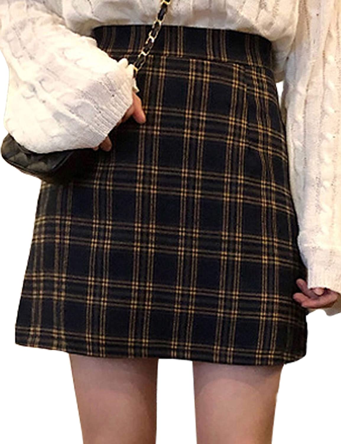 Himosyber Women's Casual High Wasit Zip up Plaid A-Line Skater Mini Skirt