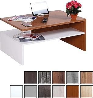 RICOO WM080 W-ER, Mesa Centro salón, 90x41,5x59,5cm, Mueble Auxiliar para Salon, Rectangular, Diseño Moderno, Decorativo, Madera Color Roble rústico