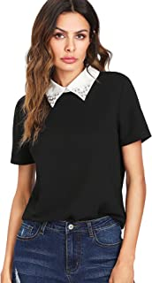 Romwe Women's Cute Contrast Collar Short Sleeve Casual Work Blouse Tops