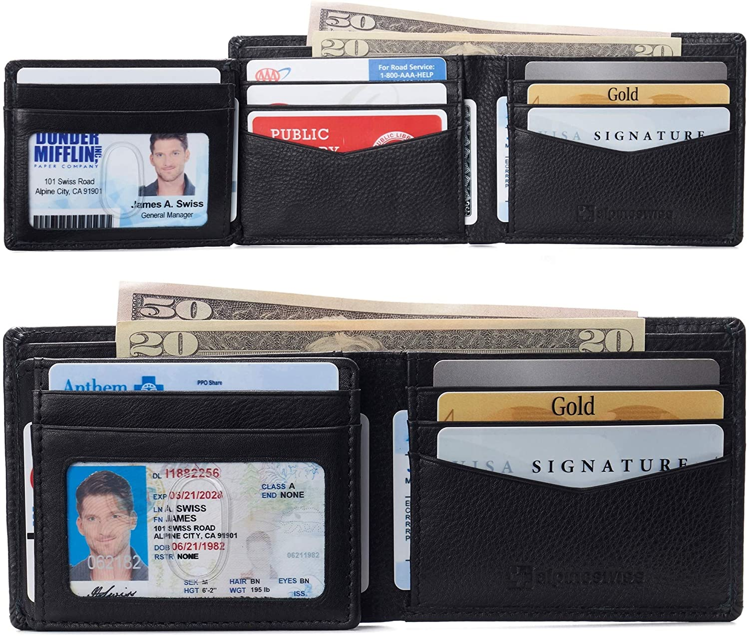 Alpine Swiss RFID Protected Mens Spencer Leather Wallet Bifold 2 ID Windows Divided Bill Section Comes in Gift Box