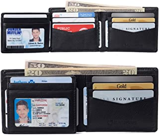 alpine swiss Men's Genuine Leather Wallet Slim Flip-out Bifold, Black, One Size