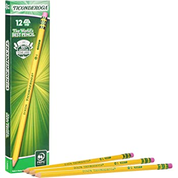 Ticonderoga Pencils, Wood-Cased Graphite #2 HB Soft, Pre-Sharpened, Yellow, 12 Count (X13806)