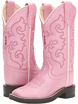Pink leather toddler cowboy boots and
