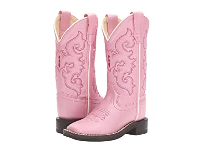 Old West Kids Boots R Toe w/ Silver Toe Rand (Toddler/Little Kid) (Pink) Cowboy Boots