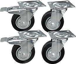 4 stuks transportwielen in een set 100 mm, wielen met rem van het merk HRB, zware wielen met max. 300 kg totale draagkrach...