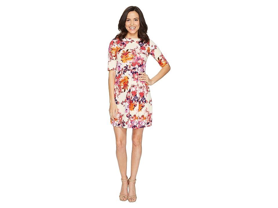 Christin Michaels Anya 3/4 Sleeve Dress (Cream/Pink) Women