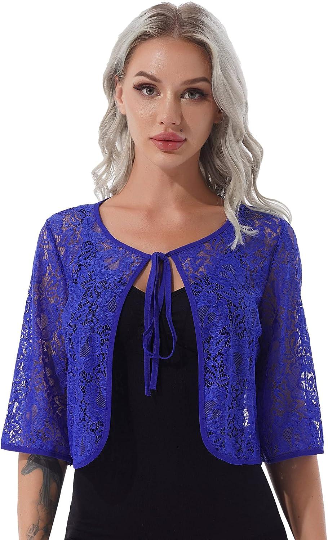 YiZYiF Women's 3/4 Sleeve Lace-up Sheer Lace Shrug Open Front Bolero Cardigan Blouse Tops