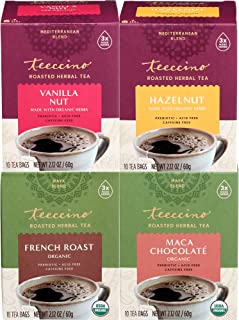 Teeccino Herbal Tea Variety Pack - Vanilla Nut, Hazelnut, Maca Chocolaté, French Roast - Roasted Herbal Tea That's Caffein...